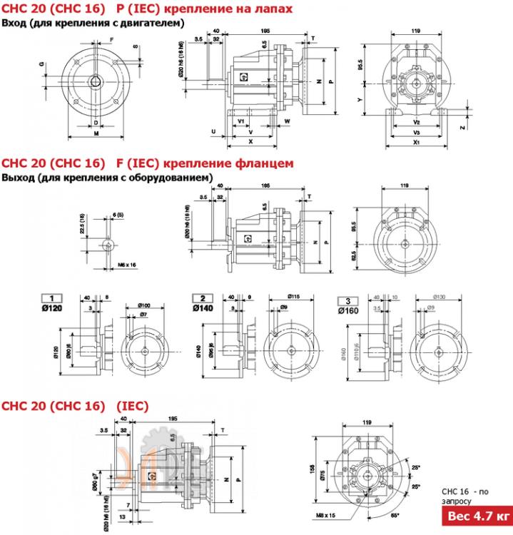 Габаритные размеры Chiaravalli CHC 20 i=23,6 71F14 цилиндрический соосный