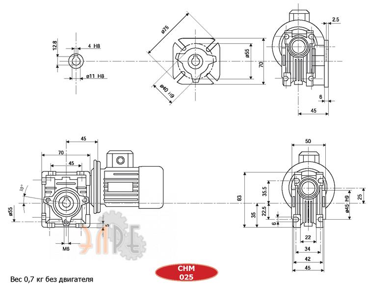 Габаритные размеры Chiaravalli CHM-25 20 56B14 U