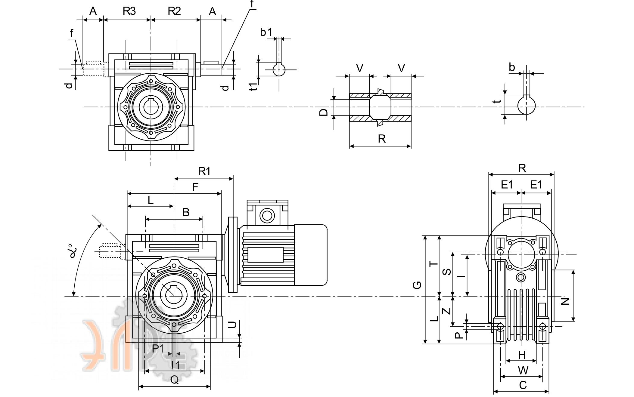 Габаритные размеры Chiaravalli CHM-50 15 71B14 U