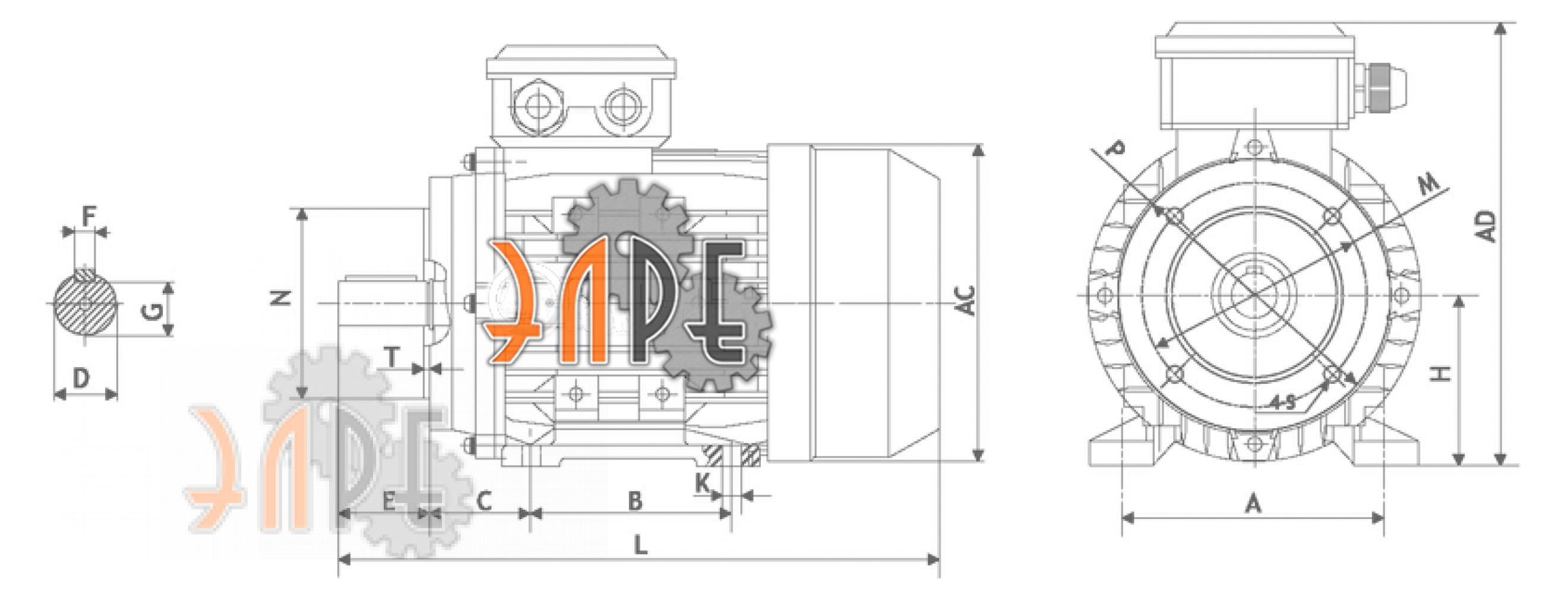 Исполнение комбинированное с малым фланцем схема АИС112М4