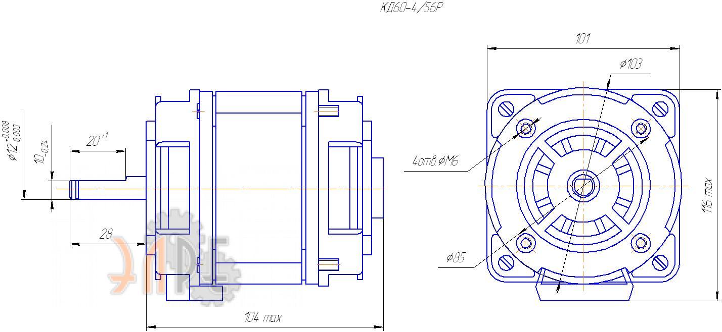 Схема и габаритные размеры КД 120-4/56Р