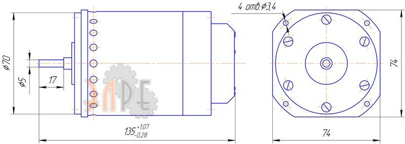 Схема и габаритные размеры ДАТ 6-5/400 управляемый