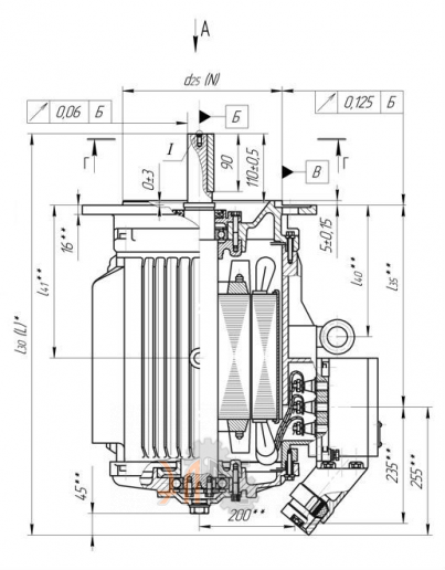 Исполнение и габаритные размеры ВА200М12 для АВО.