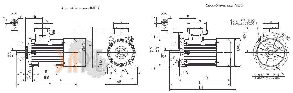 Общий вид и схема UMEB ASA 63b Ex IMB3 - IMB5