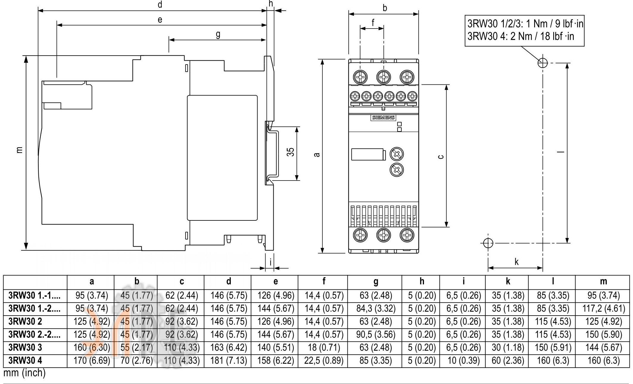Габаритные размеры Siemens Sirius 3RW3047-1BB14