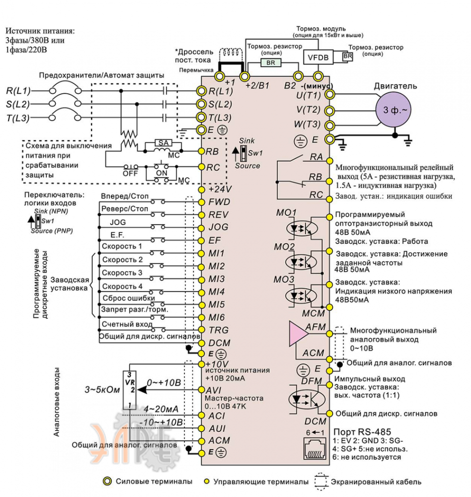 Схема электрического подключения Delta VFD015B43A 1,5Вт 3-ф 380В
