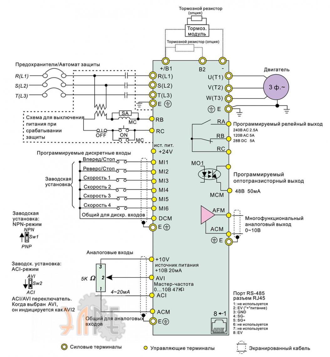 Схема электрического подключения Delta VFD015E43T 1,5кВт 3-ф 380В