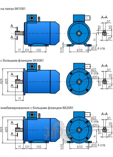 Габаритно-Присоединительные размеры электродвигателя 5АИ 80 А4