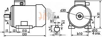 Габаритно-присоединительные размеры электродвигателя АИМУ 112 МВ6