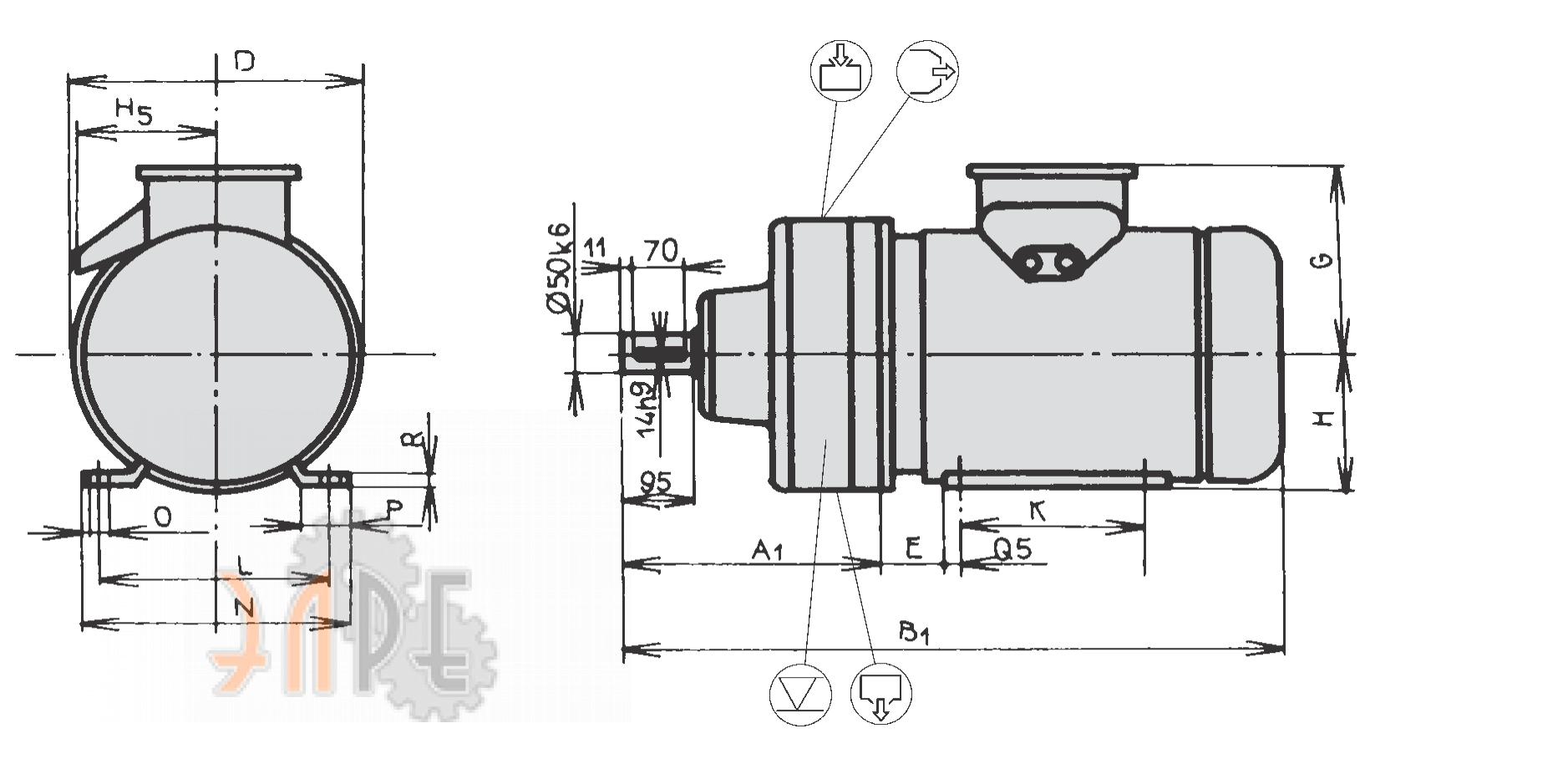 Исполнение и габаритные размеры ZTS Sabinov EP 41 двигатель 1 LA Исполнение 10